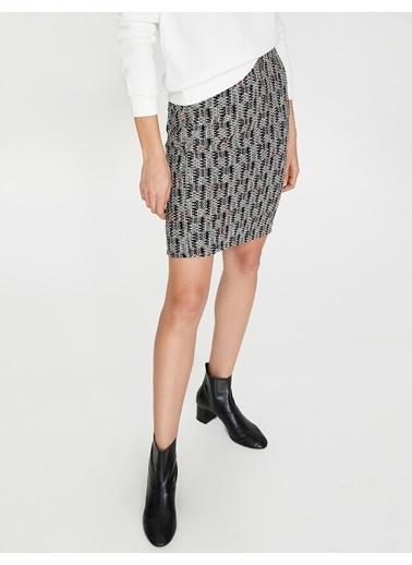 Koton Desenli Mini Etek Siyah